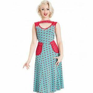 Voodoo Vixen Heart Print Pinup Dress
